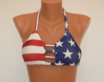 Bikini top/American Flag triangle strappy halter top/Padded bikinis/Swimwear/Swimsuit/Bathing suits/Plus size/4th July/Strappy top