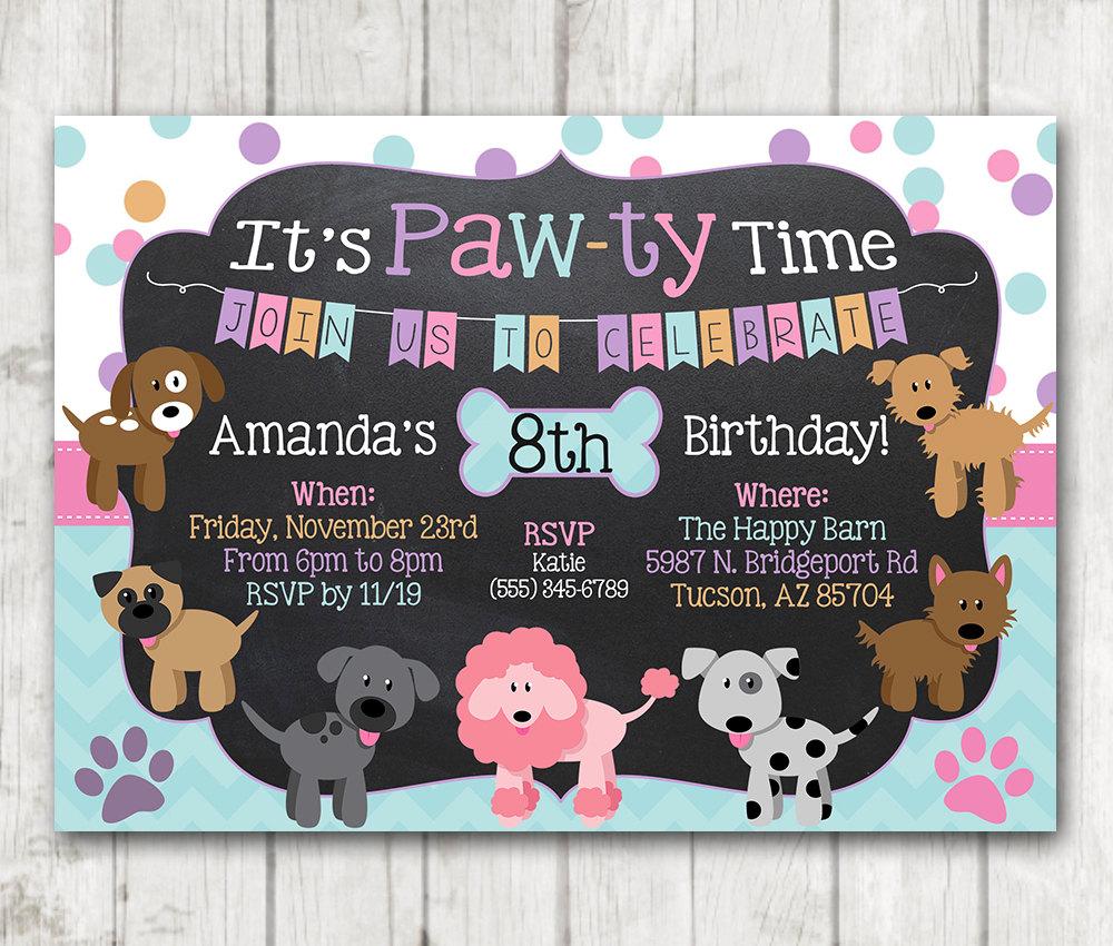 Printable puppy birthday invitation pawty invitation zoom filmwisefo Choice Image