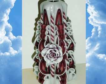 Rose candle, Gift for her, Handmade gift candle - Hand Carved candles -Unusual gifts - Wedding -  6.7 inch/ 17cm
