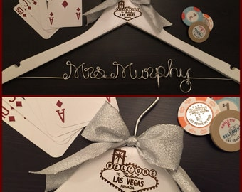 Las Vegas Wedding Hanger / Vegas Bride Hanger / Wedding Hanger / Bride Hanger / Vegas Wedding / Personalized Hanger / Bachelorette Party
