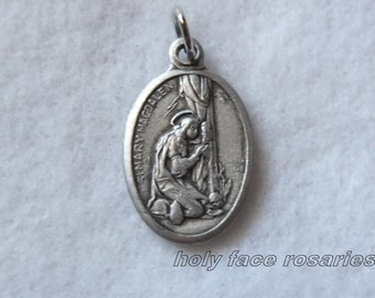 St. Mary Magdalene Magdalen Religious Catholic Patron Saint Medal Charm Silver Oxidized Pendant