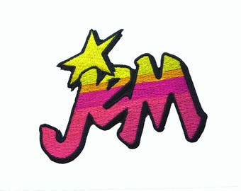 """3.8"""" Retro 80s NEON Ombre Jem and the holograms Embroidered Iron on patch"""
