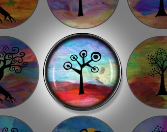 Digital Download - Rainbow Tree of Life v2 - 1 inch (25mm) Round Printable images for jewellery, pendants, and magnets
