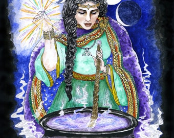 Cerridwen's Cauldron of Knowledge Celtic Goddess Print Pagan Wicca Mythology Magick Halloween Wall Art Altar Decor Pen and Ink Watercolour