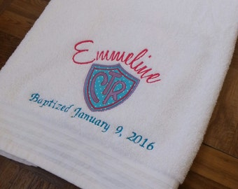 LDS Baptism Towel-CTR emblem