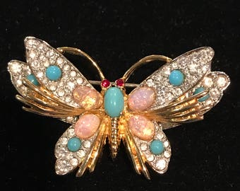 Vintage Jomaz Signed Butterfly  Turquoise Cabochon Rhinestone Figural Pin Brooch
