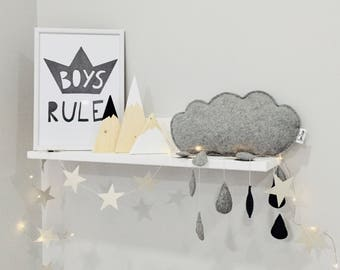 Cloud mobile, Nursery wall decor, Baby shower gift, Rainy cloud mobile.