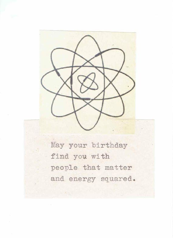 Energy Squared Funny Physics Birthday Card Vintage Science