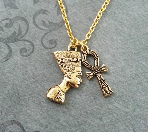 Nefertiti Necklace SMALL Ankh Necklace Queen Nefertiti Jewelry