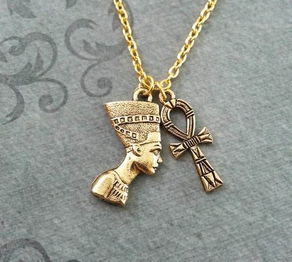 Nefertiti necklace small ankh necklace queen nefertiti jewelry mozeypictures Images