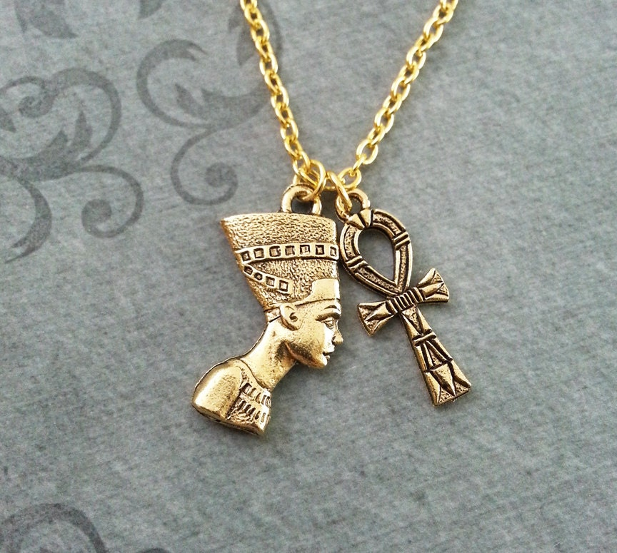Nefertiti necklace small ankh necklace queen nefertiti jewelry zoom mozeypictures Choice Image