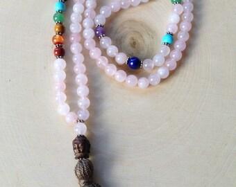 Rose Quartz Mala Prayer all Chakras 8mm Beads