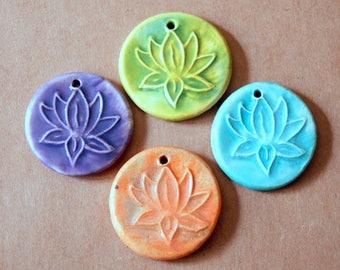 4 Lotus Beads - Handmade Ceramic Lotus Pendants in Orange, Lavender, Aqua and Light Green Namaste - Yoga Jewelry - Mala Supplies