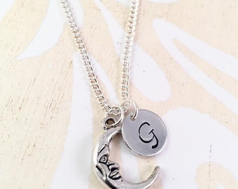 Personalized Moon Necklace, Mothers Day, Silver Moon Necklace, Initial Necklace,  Love you to the Moon Necklace, Moon Pendant, Crescent Moon