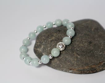 Aquamarine Bracelet ~ Silver Lattice Bead ~ Sterling Silver ~ Natural Aquamarine ~ Stretch bracelet ~ March Birthstone  ~ Gift ~ Yoga