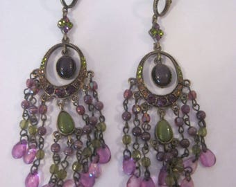 Vintage earrings, drop dangle tiered earrings, purple & green glass and rhinestones that sparkle
