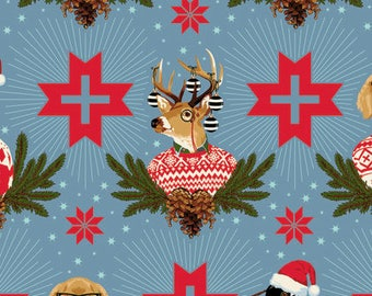 Stag Head, Deer Head, Buck, Goose, Dog Bandana, Tula Pink, Farmhouse Christmas, Rustic Christmas, Rustic Baby Quilt, Holiday Homies