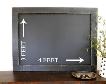 CHALKBOARD - Extra Large - Framed Chalkboard - Blackboard - Industrial Decor - Farmhouse - Shown in Black - 36 x 48 - More Colors Available