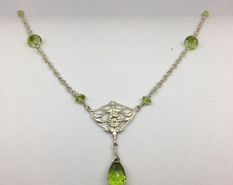 Sterling Silver Necklace with Briolette Peridot Drop