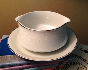 Crown Victoria Lovelace vintage gravy boat with attached underplate