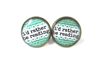 I'd Rather be Reading Earrings, Quote Jewelry, Nerdy Librarian Book Jewelry, Book Page Jewelry, Book Earrings, Typographic Book Page Jewelry