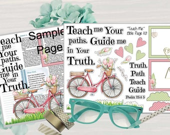 """Printable """"Teach Me"""" Bible Journaling Page Kit - Complete kit for Bible Pages or Journals. Fits all Journaling Bibles."""