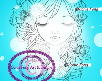 SALE Digital Stamp, Digi Stamp, digistamp, Alanna by Conie Fong, Coloring Page, girl, flower, orchid, birthday, braids