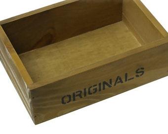 "Wood Display Vintage Box Storage Container Natural ""ORIGINALS"""