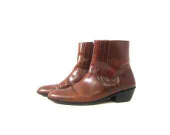 Vintage men's Boots Brown leather Side Zipper ankle boots Hipster Beatle Boots Men's Size 11.5