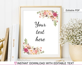 Editable Wedding Sign,  Your Text Here Sign, Wedding Sign Template, #A048, INSTANT DOWNLOAD, Editable PDF