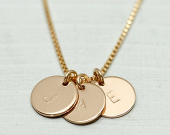 Gold disc necklace - dainty gold necklace - initial necklace - gold initial necklace - delicate gold jewelry - personalized mothers day gift