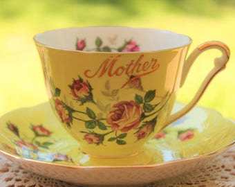 """QUEEN ANNE Fine Bone China Teacup and saucer Set """"Mother"""""""