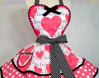 Love is in The Air PInUp Apron, Hearts/Retro Apron/Polka Dot Apron/Women's Apron
