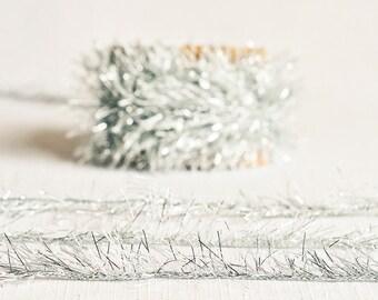 Tinsel Twine in Aquamarine - 6 Yards - Blue Aqua Silver Metallic Ribbon Cord Fringe Garland Packaging Gift Wrapping Wedding Party Decor