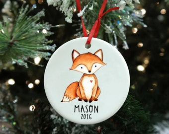 First Christmas Ornament, New Baby Gift Boy, First Christmas Gift Boy, Personalized Christmas Ornament, Fox Ornament