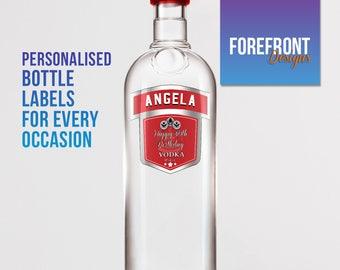 Personalised Vodka bottle label-Ideal Celebration/Birthday/Wedding gift personalized bottle label