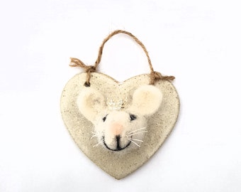 King Mouse, Needle Felted Mouse Wall Hanging
