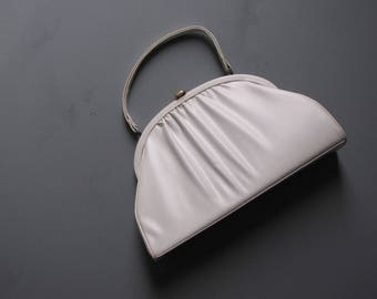 Vintage White Dressy Pleated Purse