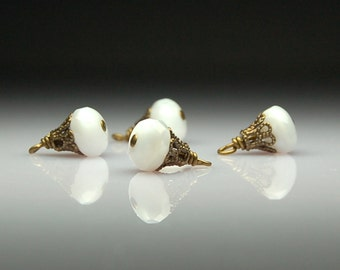 Vintage Style Bead Dangles Charms White Glass Set of Four C31