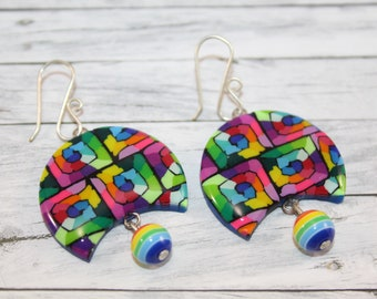 Rainbow crescent earrings