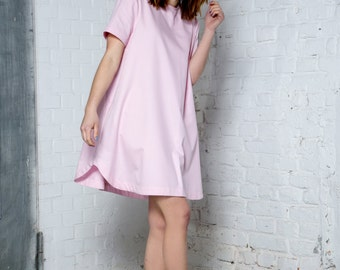 Pink organic cotton dress - Eco friendly casual dress - Summer oversized dress