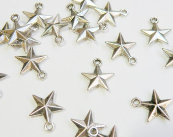 10 Star charms antique silver 16x14mm PZN61909