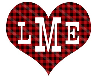 Lumberjack Valentine Monogram Heart Personalized Digital Download for iron-ons, heat transfers, T-Shirts,  Towels, Aprons, YOU PRINT