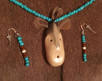 Hand Carved Spirit Mask Necklace with Earrings