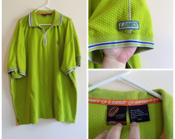 Featured listing image: 90s Hip Hop, Mens Shirt, Pullover, Lugz, Big and Tall, Chartreuse, Green, Blue, Size 3XLT, Polo Shirt, Collar Shirt, Textured, Cotton, Sport