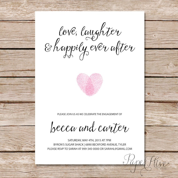 Engagement party invitation love laughter and happily ever for Etsy engagement party invites