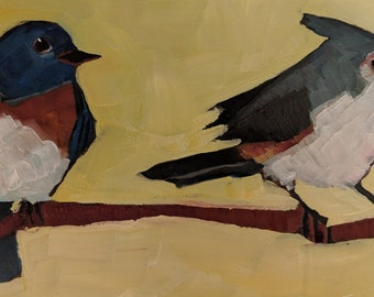 Western bluebird and titmouse original oil painting he