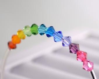 Colorful Rainbow Bangle, Crystal Bracelet, Swarovski, Bright Beads, Fun Whimsical, Silver Plated Jewelry