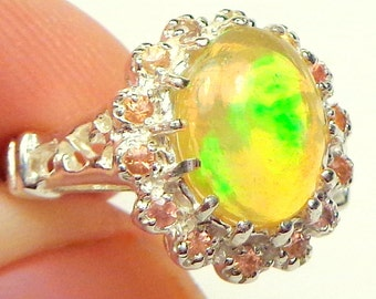 Welo Opal, Fancy Yellow Sapphires, Sterling Silver Ring, Green, Orange, Golden Yellow Color Play, Natural, Ethiopian Opal, Natural Gem Ring