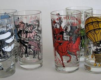 Vintage Glass Set Hazel Atlas Melody Song Drinking Tumblers